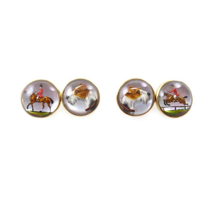 Art Deco period 14ct gold 'Essex crystal' intaglio hunting cufflinks